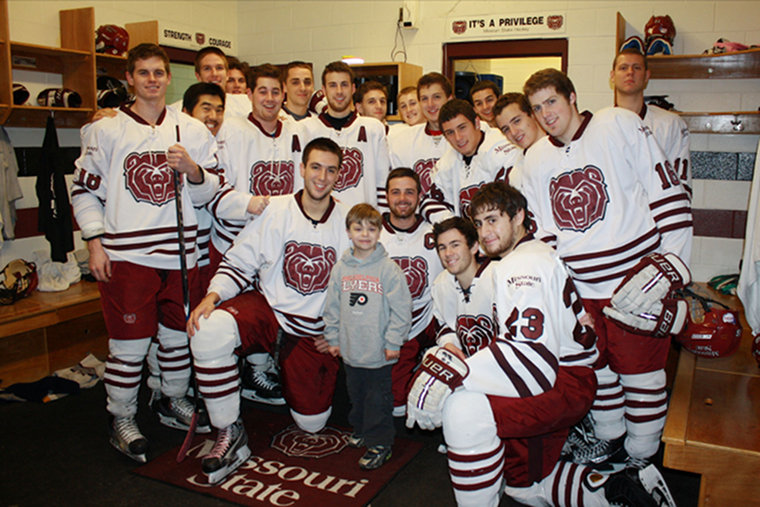 Vincent and the MSU Ice Bears team in 2011.